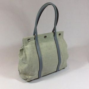 Prada Ivory Canvas Light Blue Leather Small Tote